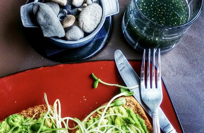 Sourdough bread with avocado and sprouts.
